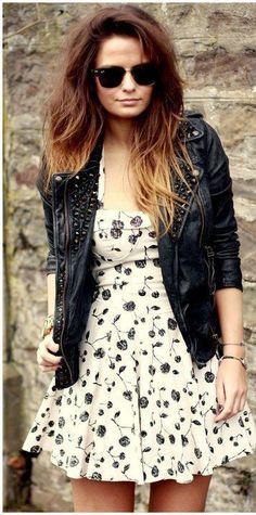 Theres something about a dress and leather jacket