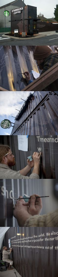 One of our newest stores, in Seattle's Ballard neighborhood, is built from a recycled shipping container. It features hand-painted signs by Seattle artist Japhy Witte. starbuck