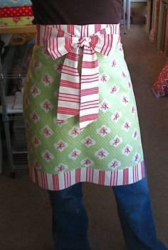 Apron in an hour. I cannot tell you how many of these I have made. They also make great gifts (holidays, bridal showers, house warming gifts, etc)