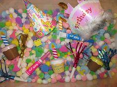birthday sensory bin
