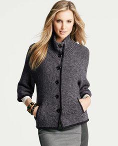 Ann Taylor Smog Heather Wool Blend Marled Jacket Sweater