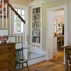 architect, stair landing, bookcases, stairway, book nooks, staircase design, hous, shelv, painted stairs