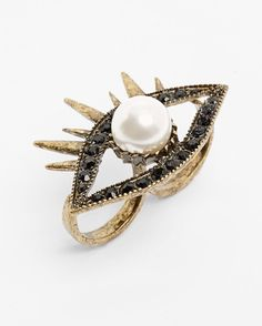 Shop The Trend: Faux Pearl Evil Eye Two-Finger Ring