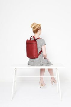 Red backpack by Leduxbags on Etsy