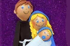 Fofucha de La Virgen, San José y el niño Jesús para portal de Belén o Nacimiento