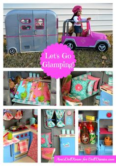 """Gorgeous makeover of the Our Generation camper for 18"""" dolls by Ava's Doll Room."""