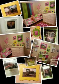 Girls John deere bedroom.  My toddler loves tractors on Grandpa's farm, so this is what I came up with. Stinky Loulou