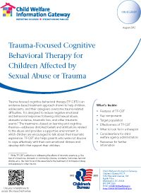 Trauma-Focused Cognitive Behavioral Therapy.**