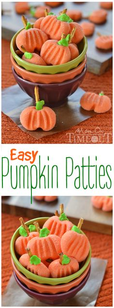 Delightfully easy Pumpkin Patties are the perfect no-bake treat to celebrate the season with. The cute factor here is off the charts! | MomOnTimeout.com | #recipe #pumpkin #candy #halloween #Thanksgiving #Fall