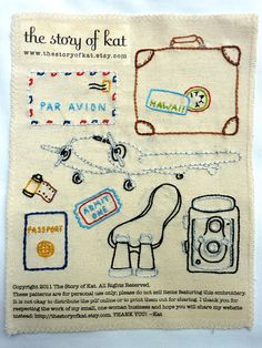 Etsy World Traveler Embroidery Pattern (the story of kat)