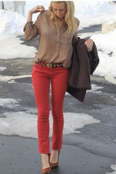 Neutral top with Red jeans
