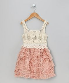 Take a look at this Rose Pink Crocheted Petal Dress - Toddler & Girls by Sweet Charlotte on #zulily today!
