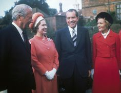 Queen Elizabeth II and U.S. Presidents Past and Present---Queen Elizabeth II and British Prime Minister Edward Heath join President Richard Nixon and first lady Patricia at Chequers, Heath's official country residence, Oct. 3, 1970. President Nixon made at least two trips to Britain during his presidency. Nixon's predecessor, Lyndon Johnson, was the only sitting U.S. president the queen did not meet during her 60-year reign. (Hulton Archive/Getty Images)