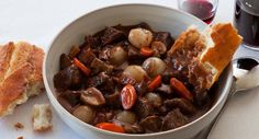 A classic French comfort dish – tender chunks of beef, mushrooms and onions is an aromatic red wine sauce.