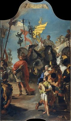 "Giovanni Battista Tiepolo (Italian, 1696–1770). The Triumph of Marius, 1729. The Metropolitan Museum of Art, New York. Rogers Fund, 1965 (65.183.1) | This painting is from a series of ten magnificent canvases painted to decorate the main room of Ca' Dolfin, Venice. The subject of this triumphal procession is identified by the Latin inscription at the top of the painting, from the Roman historian Lucius Anneus Florus: ""The people of Rome behold Jugurtha laden with chains"". # horses"