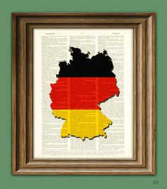 Germany Art GERMAN flag silhouette map beautifully upcycled vintage dictionary page book art print