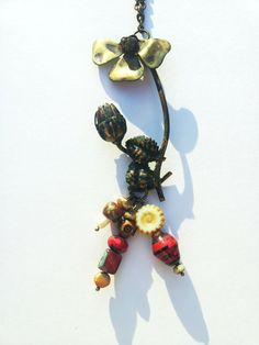 Red Jewelry Brass Pendant Upcycled Jewelry by ShellyPorterArtworks, $40.00