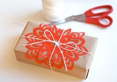 wrapping with a paper snowflake, etc.