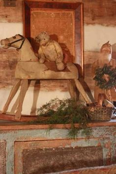 teddi bear, teddy bears, rock hors, rustic christma, primitive christmas, primit christma, decor idea, prim christma, rocking horses