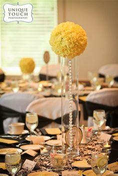 Yellow, black and white damask wedding.