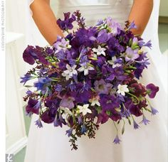 purple and white wedding bouquet