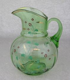 Vintage Green Clear Glass Hand Painted Enameled Flowers Pitcher