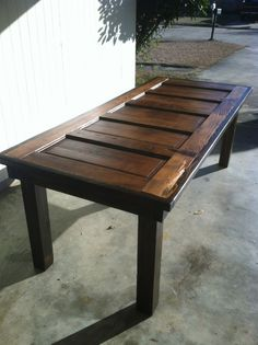Do this yourself instead of buying!  Really cool project for very little cost.   Reclaimed door table Louisiana Large by Lapalletcreations on Etsy, $475.00