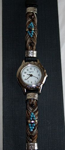 Beautiful Brown Horse Hair Watch with Blue Beading | eBay