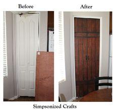 SIMPSONIZED CRAFTS: Turning Bi-Fold Doors into Faux Barn Door {Tutorial} ~ or 6 panel - idea value