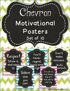 Chevron Motivational Posters.  Use to decorate your bulletin board or walls.  Each posters has a motivational saying to encourage your students to always do their best.  $