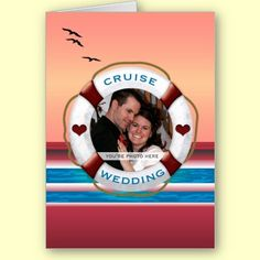 Cruise Wedding - Sunset Custom Add Your Photo Personalized Invitation Card $3.55 each, bulk orders pay less! By XG Designs NYC #cruise #wedding #invitation