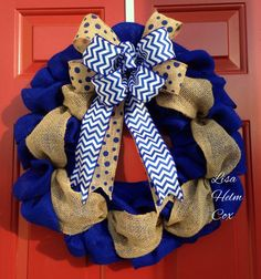 Royal blue burlap with polka dot & chevron bow.