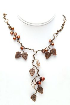 Brown Beaded Leaf Necklace Statement by CherylParrottJewelry, $119.95