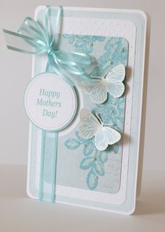 Sandra @ ribbonsandfavors.com Inspiration photo. Created by Anya at My Creative Corner. No tutorial but if you have a little cardmaking experience this will get you off and running (or cut and pasting). card idea, butterfli card, creative cards ideas, mothers day cards diy, diy mothers day cards, blue, mother's day cards, diy cards mothers day, mother day cards diy