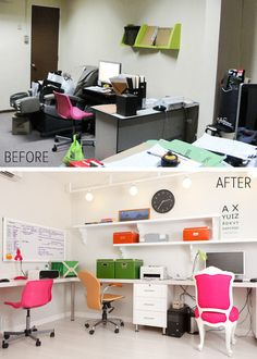 office spaces, homework room, offic design, the office, study rooms, office chairs, home offices, bright colors, desk chairs