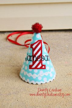 Boys 1st Birthday Party Hat and Bib f