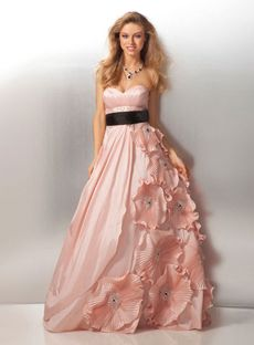 Attractive A-line Sweetheart Floor-length Taffeta Pink Prom Dresses