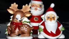 2 Vintage Lefton Porcelain Napkin Holders Santa Claus Christmas Tree Faun Deer | eBay