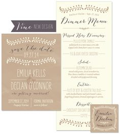 Vine Save the Date, Menu and Favor Tag | by The Green Kangaroo, Inc.