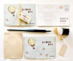 Wedding vintage invitation by emoveo-cards. Vintage Hochzeitseinladung. Partecipazione matrimonio vintage.