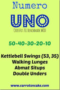 Numero Uno WOD (via Crossfit 781) -- KBS, lunges, situps, DUs