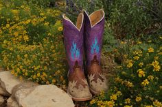 Anderson Bean boots among the flowers.