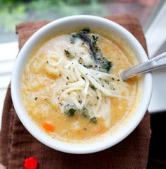 Learn the basics of how to make soup starting with this simple Cauliflower Kale Chowder!