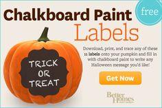 Pumpkin Chalkboard Label Stencils from Better Homes & Gardens #Halloween #fall #DIY