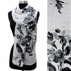 Light Weight Black & White Floral Scarf @ beachcats bargains  http://beachcatsbargains.ecrater.com/