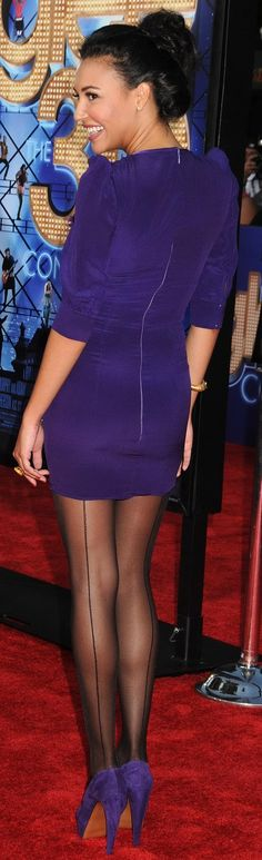 Naya Rivera in stunning sheer black back-seamed Pantyhose and delicious purple suede pumps
