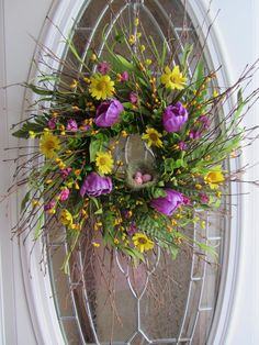 Spring Wreath  Daisy & Tulip Wreath  by DoorWreathsByDesign, $62.95