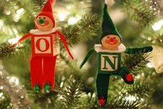 DIY Alphabet Block Elf Christmas Ornament