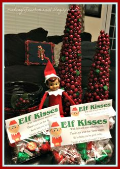 Elf Kisses -- cute idea for a gift from your Elf on the Shelf!