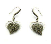 925 Thai Sterling Silver Hematite Instert Sweet Heart Drop Dangle Earrings dangl earring, dangle earrings